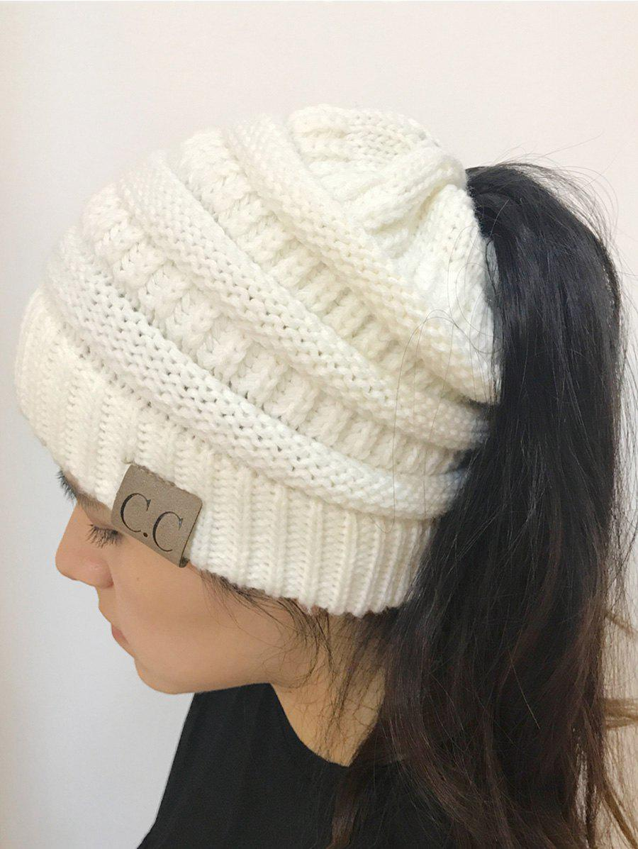 Open Top Mixcolour Knitted HatACCESSORIES<br><br>Color: WHITE; Hat Type: Skullies Beanie; Group: Adult; Gender: For Women; Style: Fashion; Pattern Type: Others; Material: Acrylic; Circumference (CM): 57CM; Weight: 0.2000kg; Package Contents: 1 x Hat;