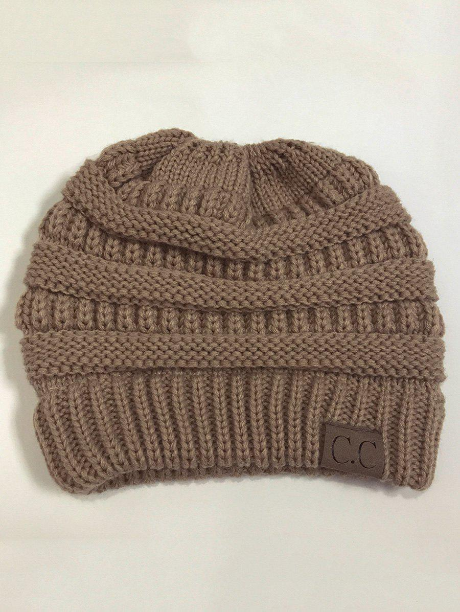 Open Top Mixcolour Knitted HatACCESSORIES<br><br>Color: KHAKI; Hat Type: Skullies Beanie; Group: Adult; Gender: For Women; Style: Fashion; Pattern Type: Others; Material: Acrylic; Circumference (CM): 57CM; Weight: 0.2000kg; Package Contents: 1 x Hat;