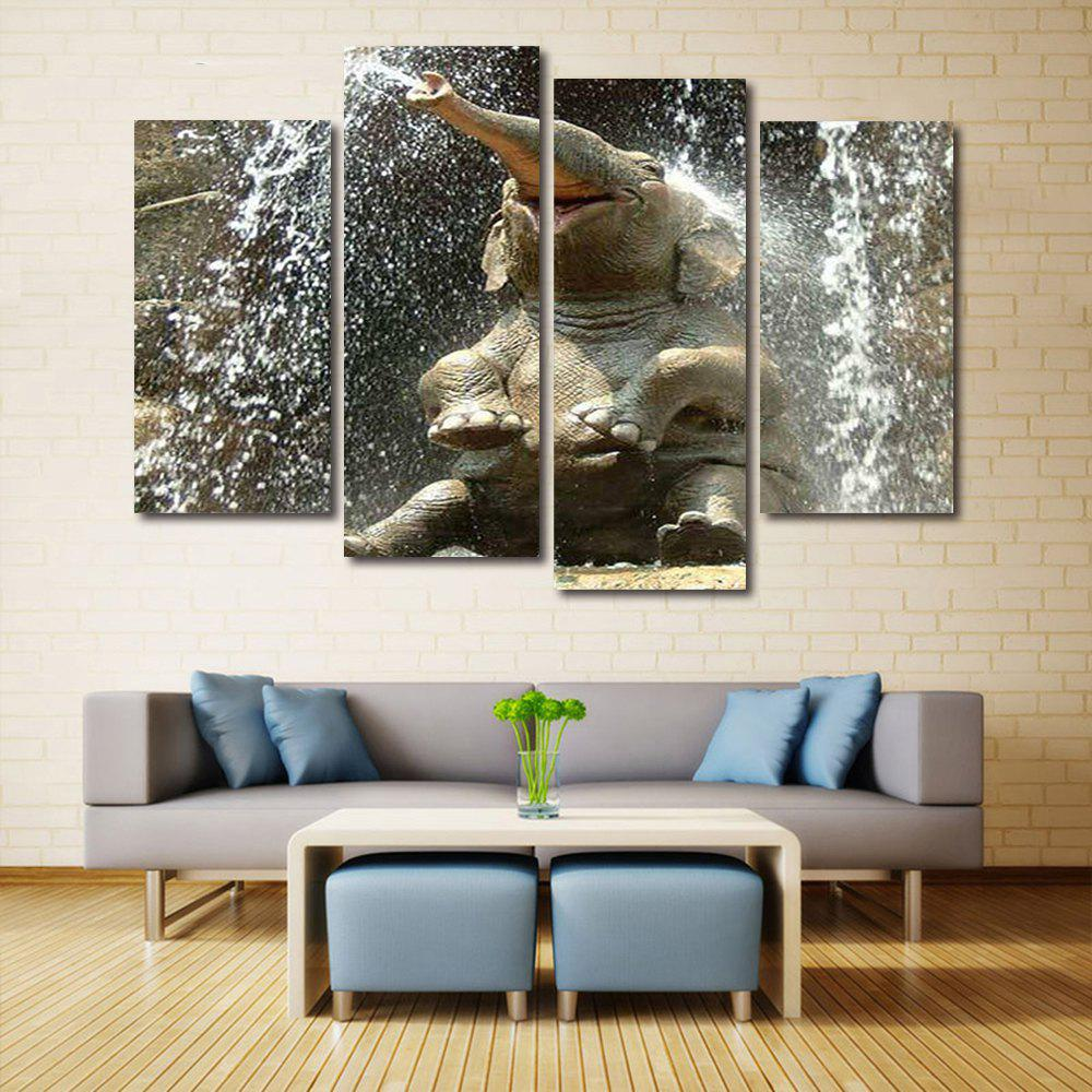 Elephant Bathing Print Unframed Split Canvas Paintings