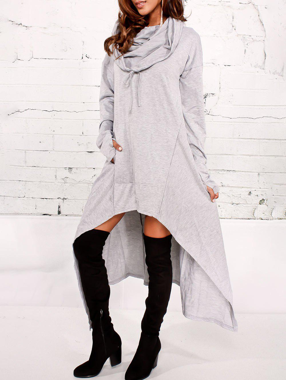 Kangaroo Pocket Maxi Asymmetric HoodieWOMEN<br><br>Size: L; Color: LIGHT GRAY; Material: Cotton,Polyester; Shirt Length: X-Long; Sleeve Length: Full; Style: Fashion; Pattern Style: Solid; Embellishment: Front Pocket; Season: Fall,Spring; Weight: 0.7000kg; Package Contents: 1 x Hoodie;