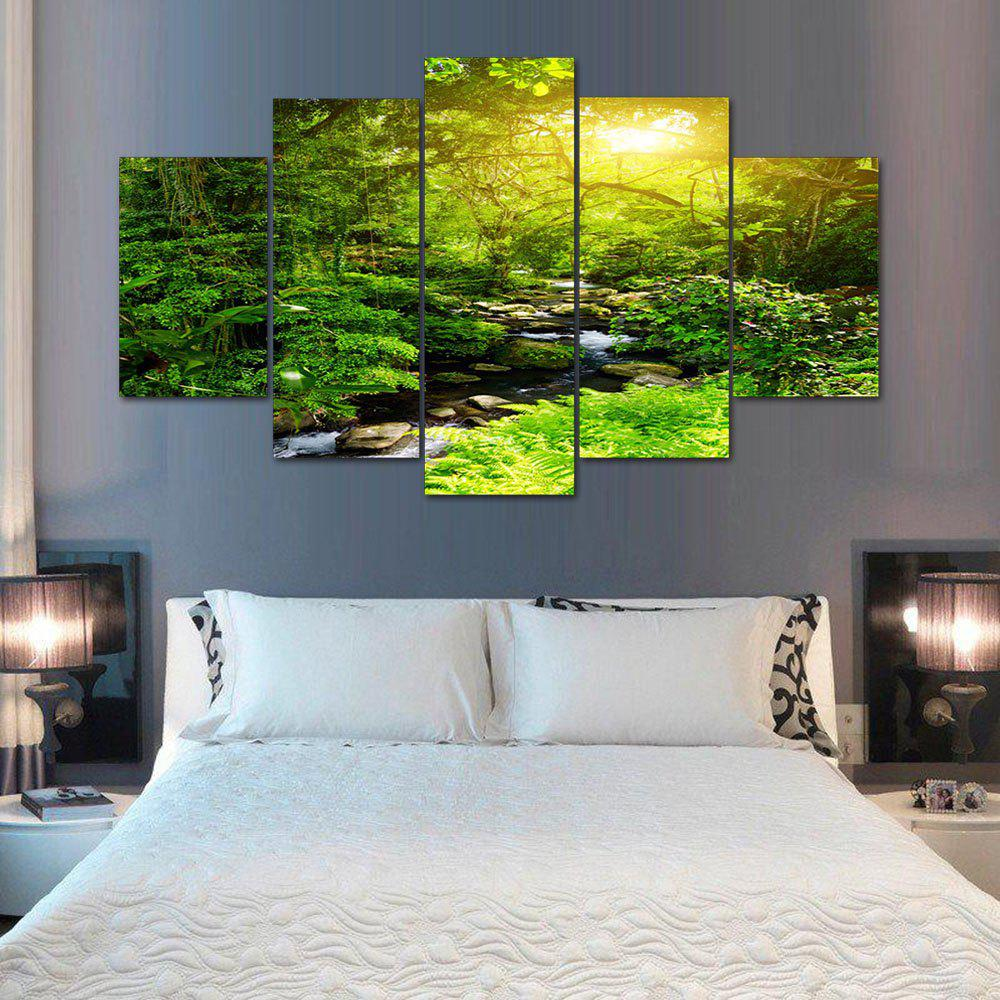 Forest Stream Print Unframed Split Canvas PaintingsHOME<br><br>Size: 30*40CM*2PCS/30*60CM*2PCS/30*80CM*1PCS; Color: GREEN; Subjects: Landscape; Features: Decorative; Hang In/Stick On: Bedrooms,Hotels,Living Rooms,Offices,Stair; Shape: Horizontal; Form: Five Panels,Four Panels; Frame: No; Material: Canvas; Package Contents: 1 x Canvas Paintings (Set);