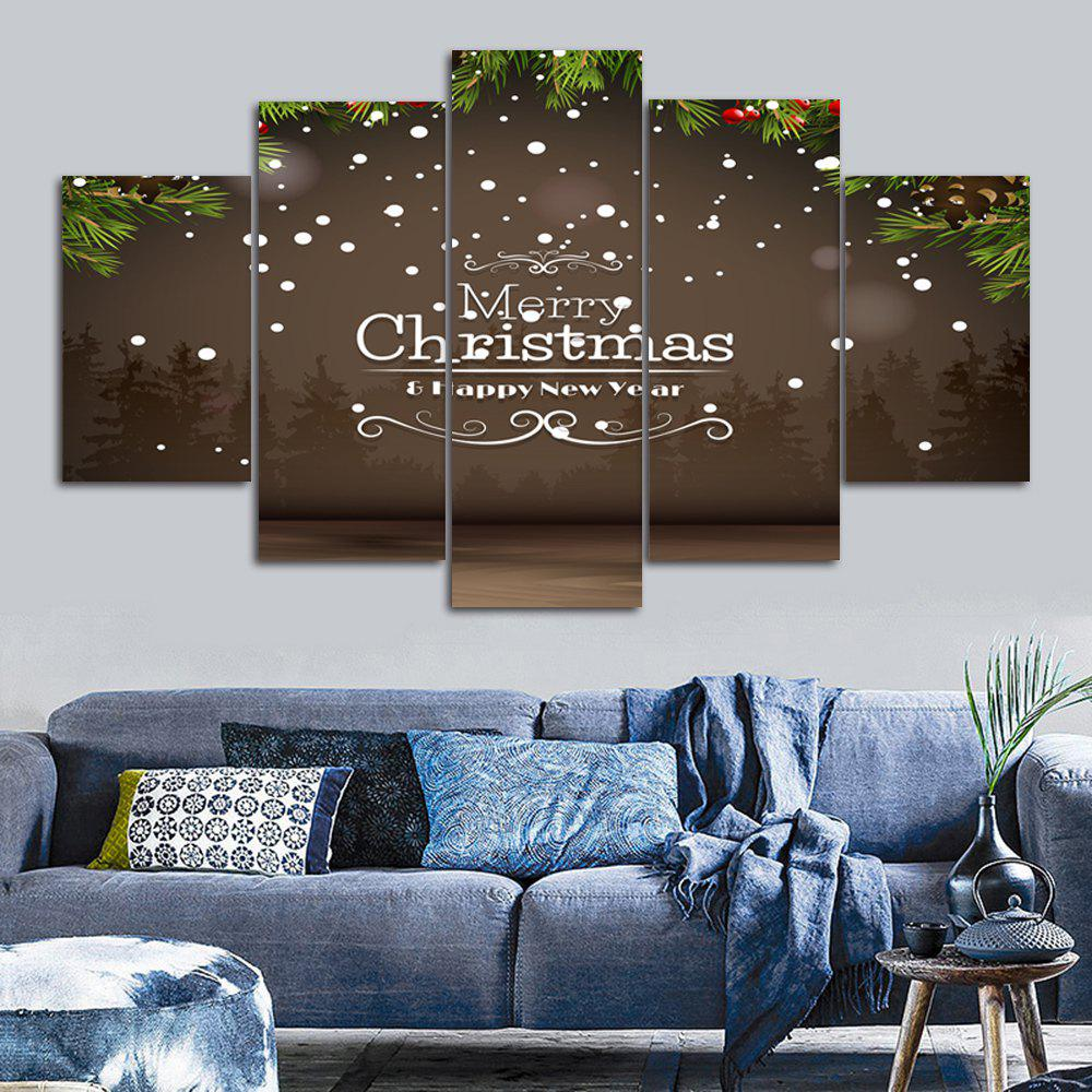 Merry Christmas Print Unframed Split Canvas PaintingsHOME<br><br>Size: 30*40CM*2PCS/30*60CM*2PCS/30*80CM*1PCS; Color: BROWN; Subjects: Christmas; Features: Decorative; Hang In/Stick On: Bedrooms,Hotels,Living Rooms,Offices,Stair; Shape: Horizontal; Form: Five Panels,Four Panels; Frame: No; Material: Canvas; Package Contents: 1 x Canvas Paintings (Set);