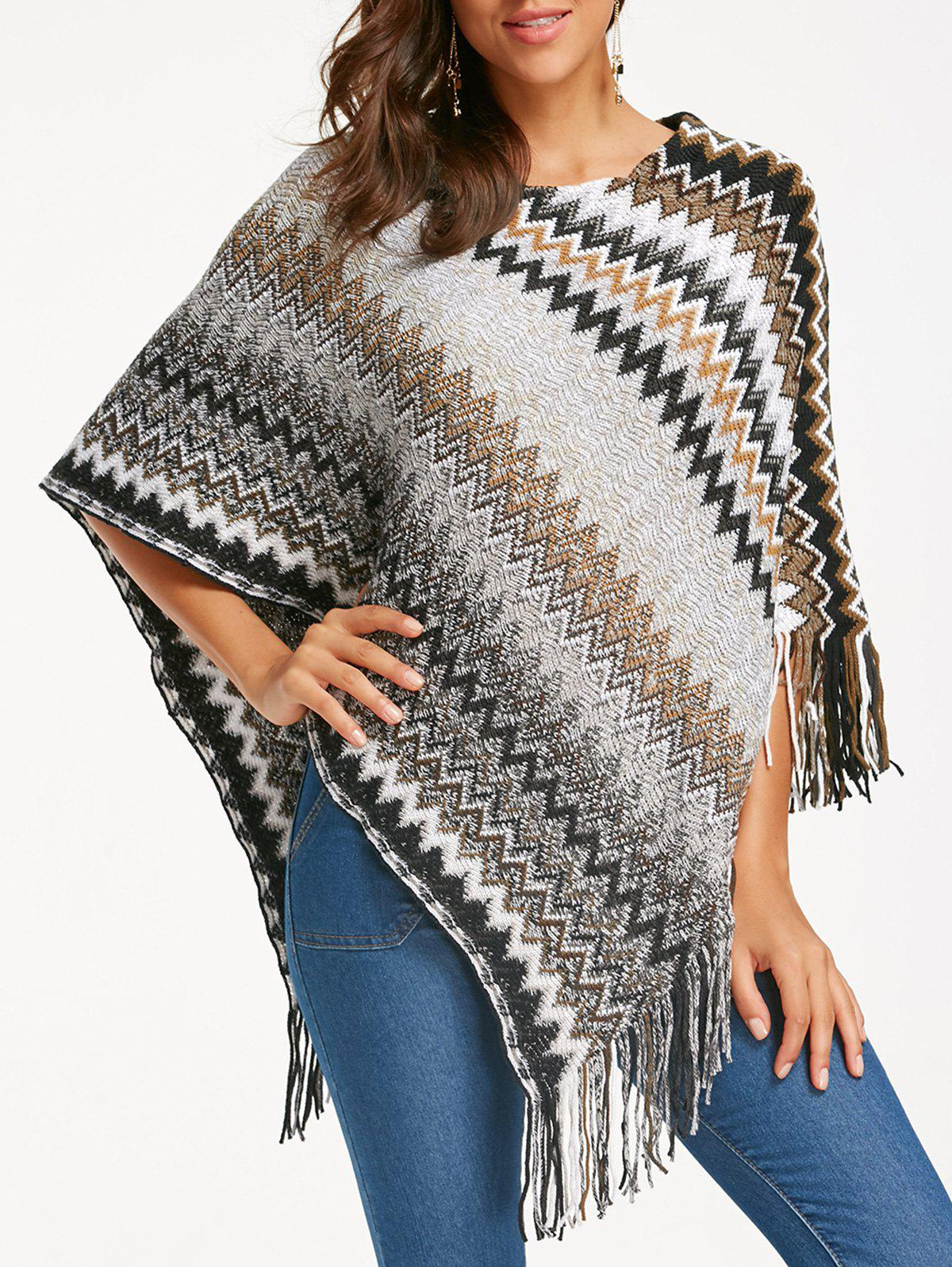 Zigzag Fringed Knitted Irregular PonchoWOMEN<br><br>Size: ONE SIZE; Color: CAMEL; Type: Pullovers; Material: Acrylic; Sleeve Length: Three Quarter; Collar: Round Neck; Style: Casual; Pattern Type: Chevron/Zig Zag; Season: Fall,Spring; Weight: 0.5600kg; Package Contents: 1 x Poncho;
