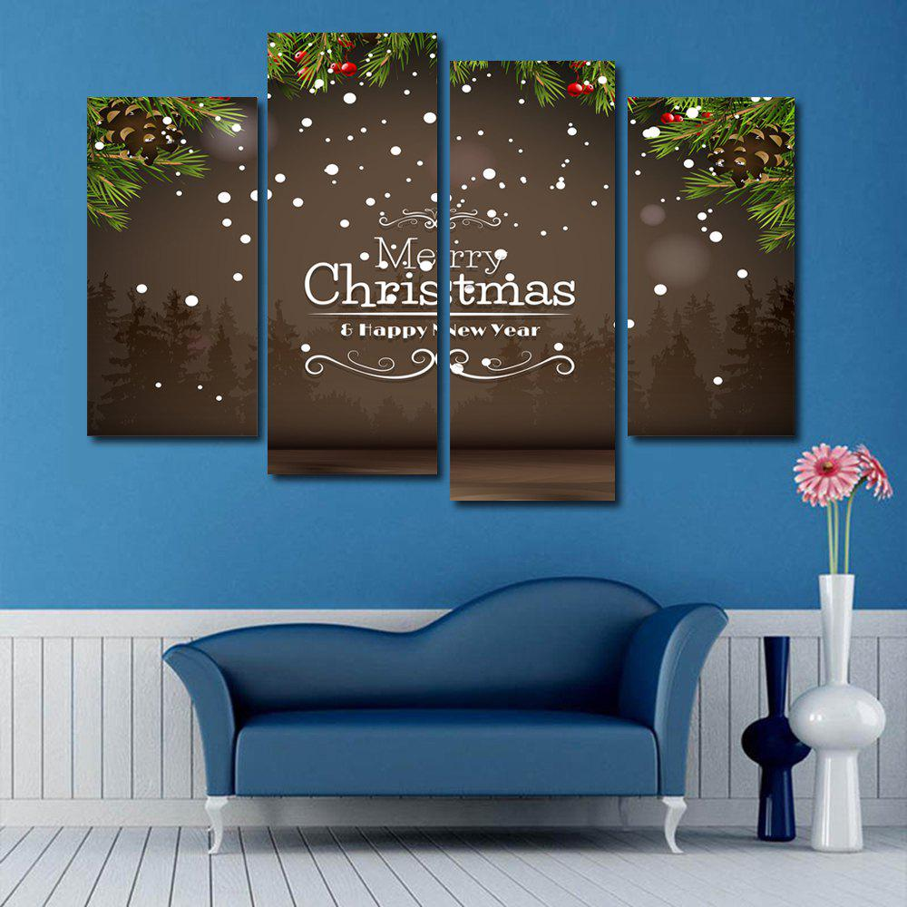 Merry Christmas Print Unframed Split Canvas PaintingsHOME<br><br>Size: 30*60CM*2PCS/30*80CM*2PCS; Color: BROWN; Subjects: Christmas; Features: Decorative; Hang In/Stick On: Bedrooms,Hotels,Living Rooms,Offices,Stair; Shape: Horizontal; Form: Five Panels,Four Panels; Frame: No; Material: Canvas; Package Contents: 1 x Canvas Paintings (Set);