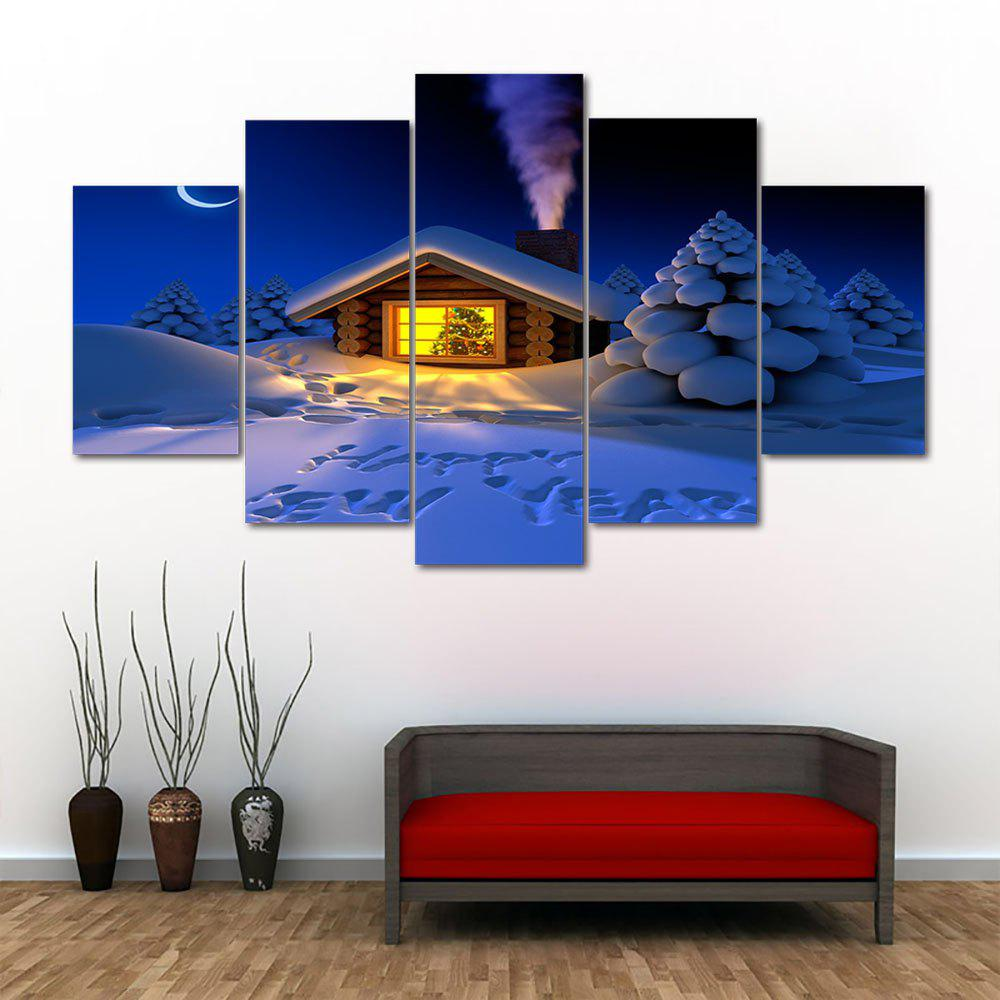 Discount Happy New Year Snow Print Unframed Split Canvas Paintings