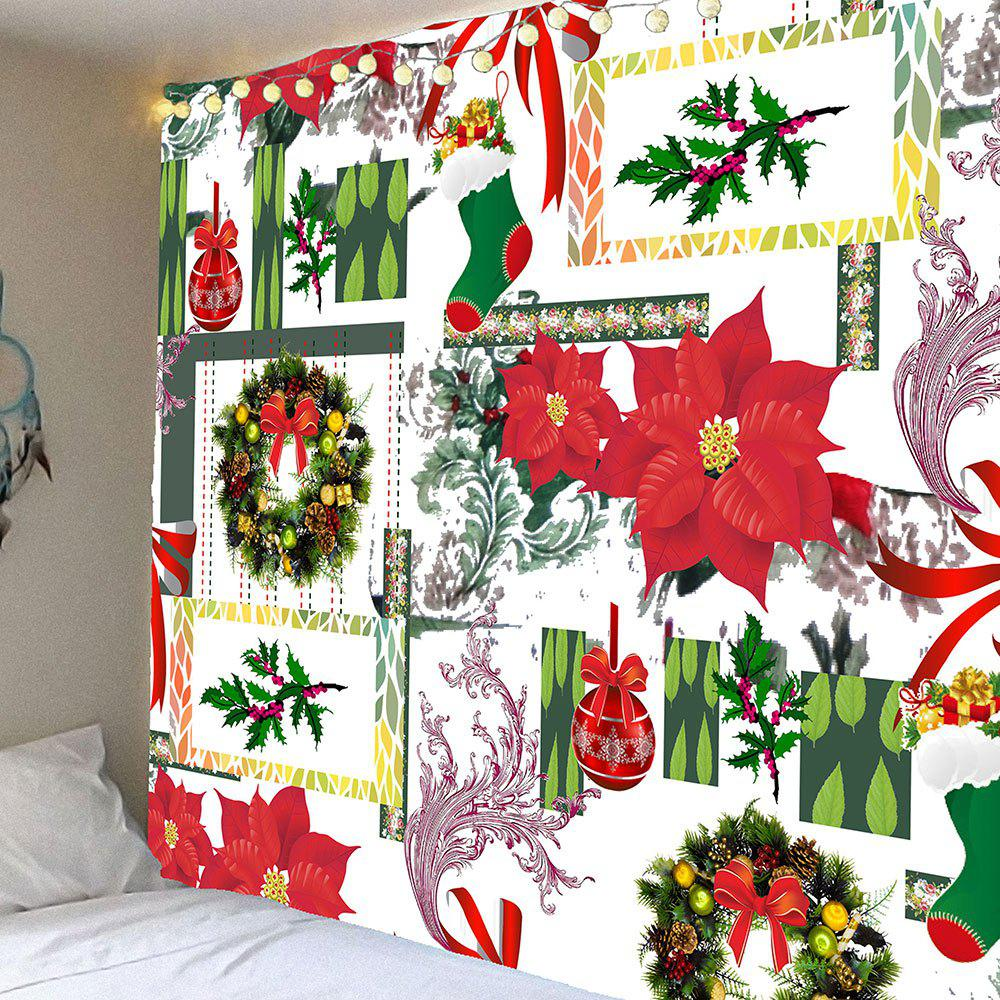 Hanging Christmas Gifts Pattern Hanging Waterproof TapestryHOME<br><br>Size: W59 INCH * L59 INCH; Color: COLORFUL; Style: Festival; Theme: Christmas; Material: Velvet; Feature: Removable,Waterproof; Shape/Pattern: Bowknot,Floral; Weight: 0.2500kg; Package Contents: 1 x Tapestry;
