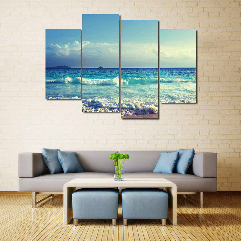 Sea Wave Pattern Unframed Split Canvas PaintingsHOME<br><br>Size: 30*60CM*2PCS/30*80CM*2PCS; Color: ICE BLUE; Subjects: Seascape; Features: Decorative; Hang In/Stick On: Bedrooms,Living Rooms,Offices; Shape: Horizontal; Form: Five Panels,Four Panels; Frame: No; Material: Canvas; Package Contents: 1 x Canvas Paintings (Set);