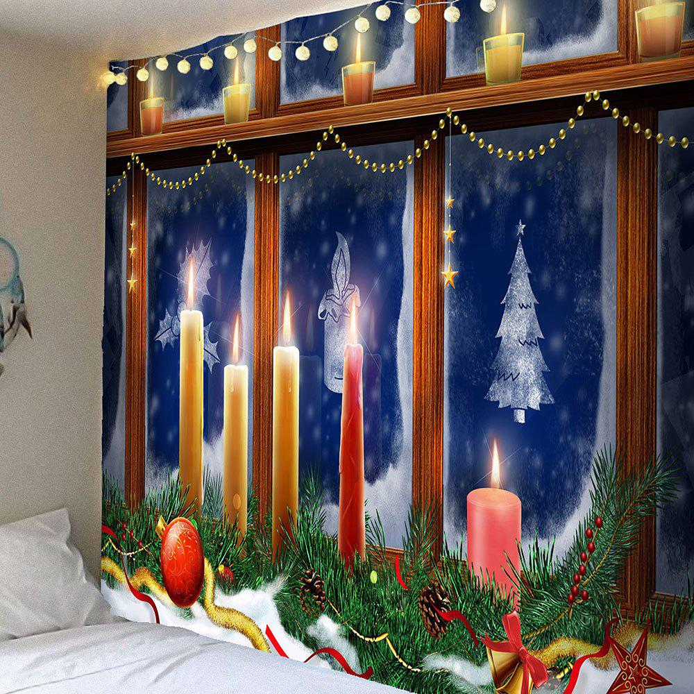 Decorative Window Christmas Candles Pattern TapestryHOME<br><br>Size: W59 INCH * L59 INCH; Color: COLORFUL; Style: Festival; Theme: Christmas; Material: Velvet; Feature: Removable,Waterproof; Shape/Pattern: Window; Weight: 0.2500kg; Package Contents: 1 x Tapestry;
