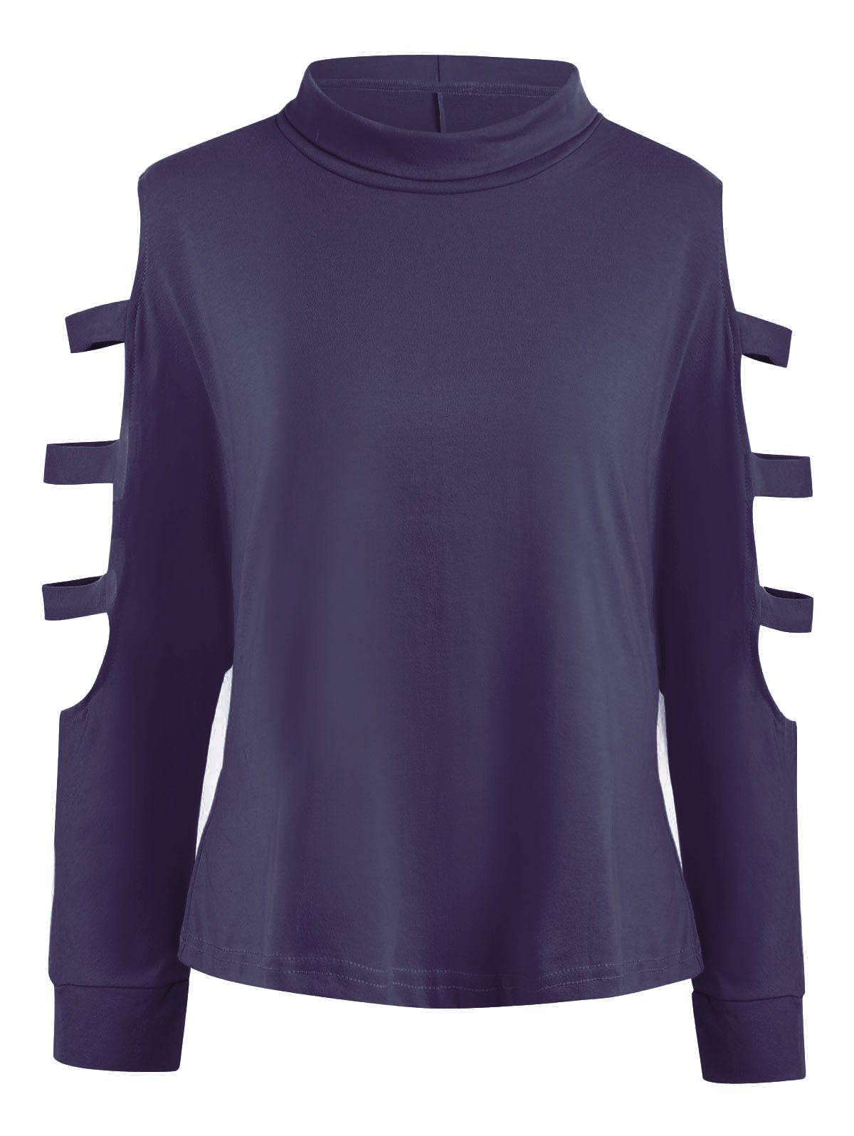 Plus Size Long Sleeve Cutout Shoulder T-shirtWOMEN<br><br>Size: 6XL; Color: PURPLISH BLUE; Material: Cotton Blends,Polyester; Shirt Length: Long; Sleeve Length: Full; Collar: Funnel Collar; Style: Fashion; Season: Fall,Winter; Sleeve Type: Cold Shoulder; Embellishment: Hollow Out; Pattern Type: Solid; Weight: 0.2500kg; Package Contents: 1 x Tee;