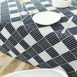 Checked Printed Linen Table Cloth - WHITE AND BLACK W35.5 INCH * L35.5 INCH