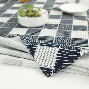 Checked Printed Linen Table Cloth - WHITE AND BLACK W55 INCH * L40 INCH