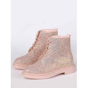 Glitter Tie Up Short Boots - Papaye 40