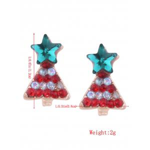 Rhinestone Tiny Christmas Tree Star Earrings -