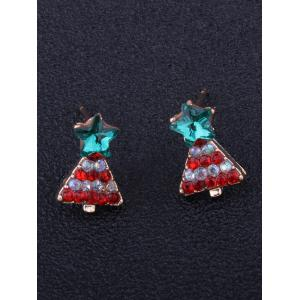 Rhinestone Tiny Christmas Tree Star Earrings - RED