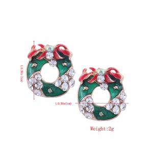 Rhinestone Tiny Christmas Wreath Stud Earrings - Vert