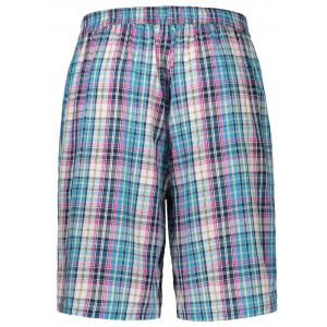 Drawstring Waist Checked Casual Shorts - COLORMIX L
