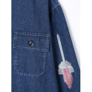 Flap Pockets Embroidery Jean Jacket - DENIM BLUE M