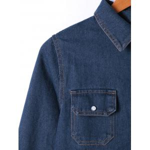 Flap Pocket Button Up Jean Chemise Manteau -