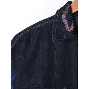 Flap Pockets Embroidery Jean Jacket - BLACK L