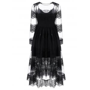 Lace Trim Tulle Dress and Skater Dress - BLACK XL