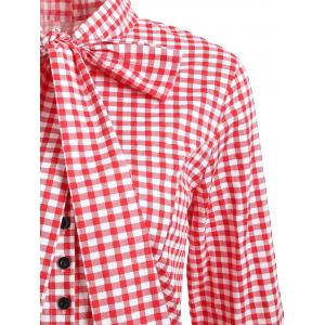 Robe bowknot à rayures doubles -