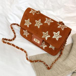 Star Embroidery Chain Crossbody Bag - BROWN