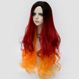 Long Side Parting Colormix Лохматый сломанный волк Wavy Synthetic Party Wig -