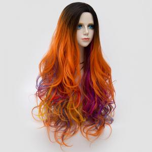 Long Side Parting Colormix Shaggy Layered Ombre Wavy Synthetic Party Wig - Rose + orange