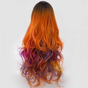 Long Side Parting Colormix Shaggy Layered Ombre Wavy Synthetic Party Wig - PINK+ORANGE
