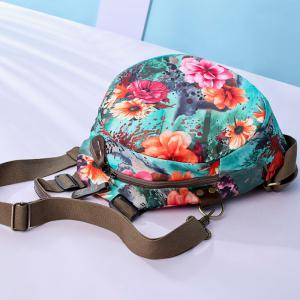 Nylon Floral Print Backpack - BLUE