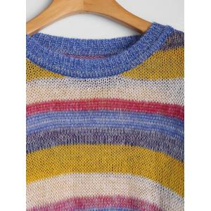 Plus Size Rainbow Drop Shoulder Sweater -