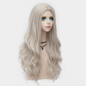 Long Layered Center Parting Wavy Synthetic Party Wig - DARK OFF-WHITE OMBRE