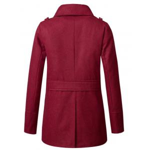 Stand Collar Double Breasted Woolen Peacoat - WINE RED 2XL