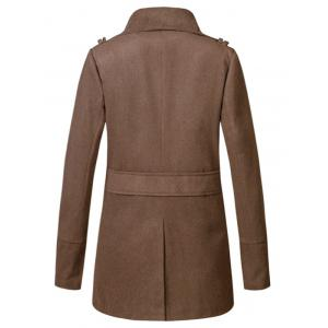 Stand Collar Double Breasted Woolen Peacoat - COFFEE 2XL