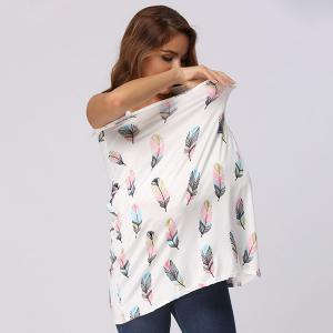 Multicolor Feather Print Nursing Cover - WHITE