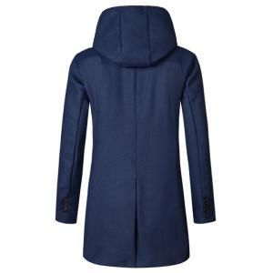 Hooded Double Breasted Woolen Coat - CADETBLUE L