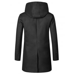 Hooded Double Breasted Woolen Coat - BLACK 2XL