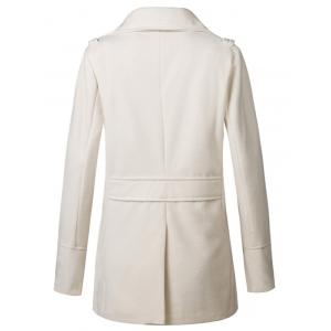 Stand Collar Double Breasted Woolen Peacoat - OFF-WHITE XL