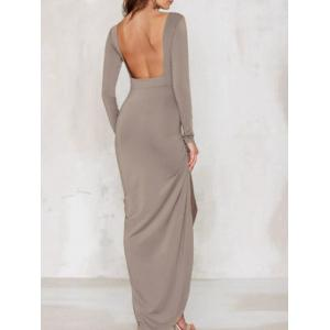 Slit Open Back Long Sleeve Maxi Dress - Camel L