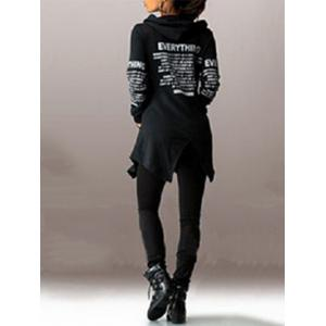 Letter Print Zip Up Hooded Coat - BLACK 2XL