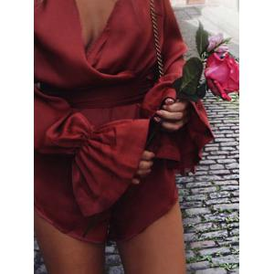 Flare Sleeve Satin Surplice Romper - DEEP RED XL