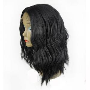 Long Center Part Shaggy Wavy Lace Front Synthetic Wig - BLACK