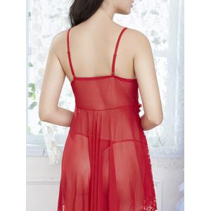 Lace Sheer Handkerchief Slip Babydoll - Rouge TAILLE MOYENNE