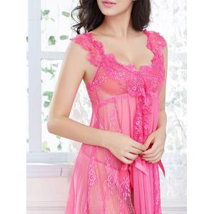 Lace Slit Low Cut Cami Babydoll -