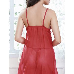 Frill Trim Lace Slip Babydoll with Fringes - RED ONE SIZE