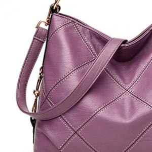 Stitching Quilt Cross Shoulder Bag - PURPLE