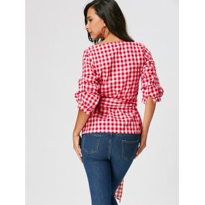 Cravate en tartan Cravate en satin de taille avec queue longue - Rouge L