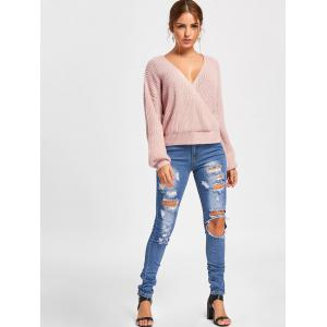 Back Cut Out Deep V Neck Sweater - PINK S