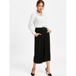 High Waist Wide Leg Cropped Pants - BLACK S