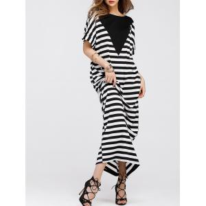 Stripe Batwing Sleeve Long Tee Shirt Dress - Rayure M